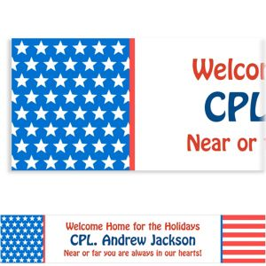 Custom Red, White & Blue Stars Welcome Home Banner 6ft