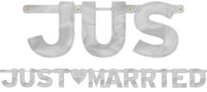 Silver Just Married Letter Banner