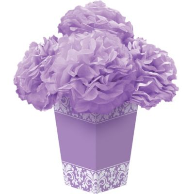 Lilac Fluffy Flower Centerpiece Kit 6pc
