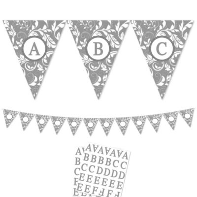 Silver Personalize It Pennant Banner Kit 28pc