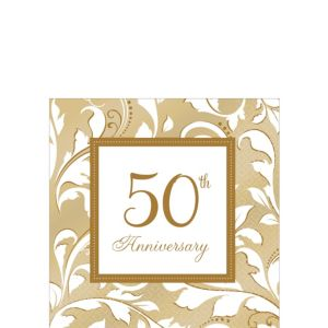 Golden 50th Anniversary Beverage Napkins 16ct