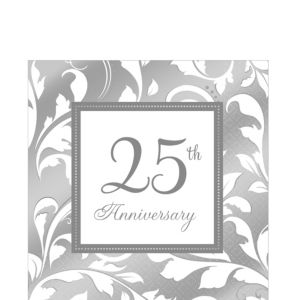 Silver 25th Anniversary Lunch Napkins 16ct