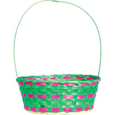 Green and Pink Round Easter Basket
