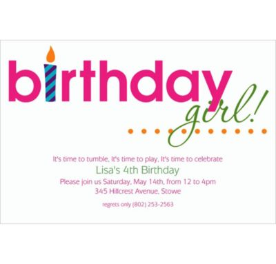 Custom Birthday Girl Text Invitations