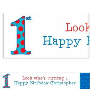 Custom Big 1st Birthday Blue Banner 6ft