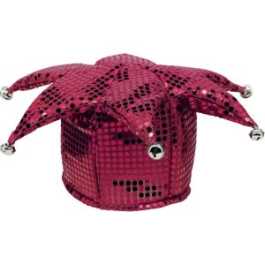 Burgundy Sequined Jester Hat