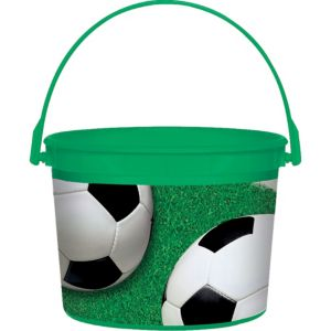 Soccer Plastic Bucket 6 1/4in x 4 1/2in