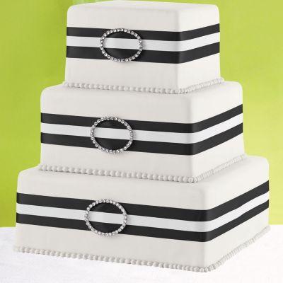 Black Rhinestone Ribbon & Buckle Cake Decoration 65in