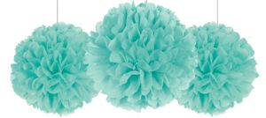 Rounded Robin's Egg Blue Fluffy Decorations 3ct