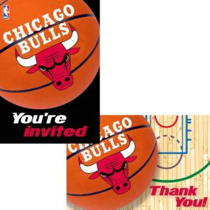 Chicago Bulls Invitations & Thank You Notes for 8