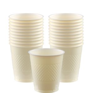 Vanilla Cream Plastic Cups 20ct