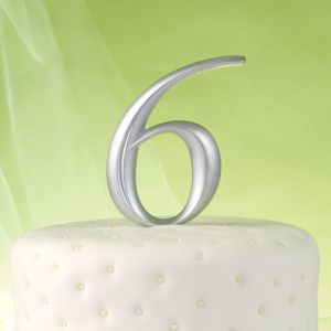 Silver Number 6 Cake Topper