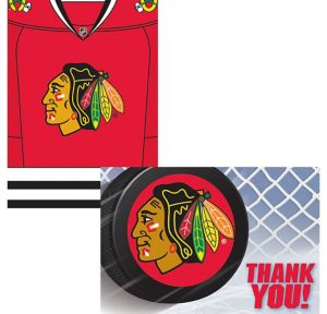 Chicago Blackhawks Invitations & Thank You Notes for 8