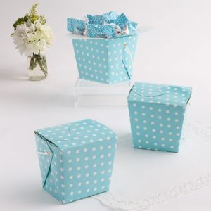 Blue Polka Dot Take-Out Style Favor Boxes 12ct