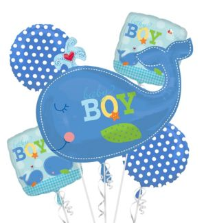 Baby Shower Balloon Bouquet 5pc - Ahoy Baby Boy