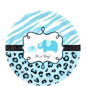 Blue Safari Baby Shower Dessert Plates 18ct