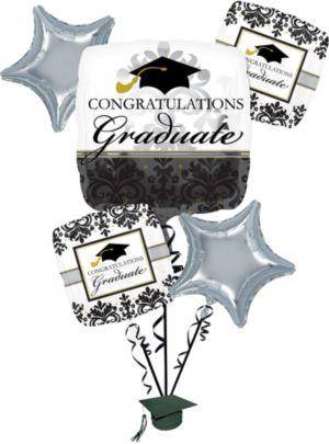 Graduation Balloon Bouquet 6pc - Black & White