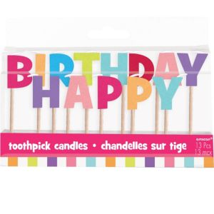 Multicolor Pastel Happy Birthday Toothpick Candles 13ct