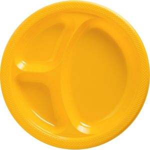 Sunshine Yellow Plastic Divided Dinner Plates 20ct