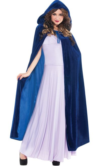 Adult Cobalt Blue Hooded Cape