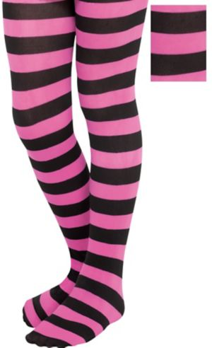 Child Fierce Pink and Black Striped Tights