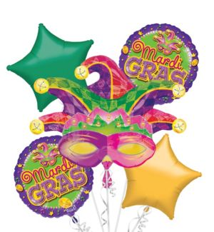 Mardi Gras Mask Balloon Bouquet 5pc