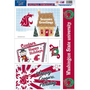 Washington State Cougars Holiday Decals 5ct
