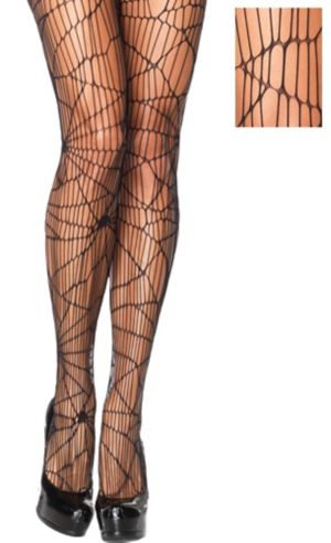 Adult Black Distressed Net Pantyhose