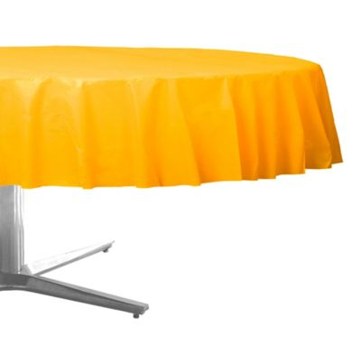 Sunshine Yellow Plastic Round Table Cover