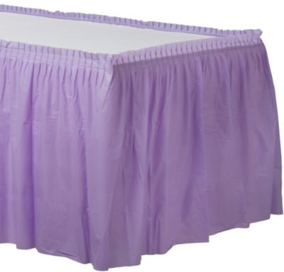 Lavender Plastic Table Skirt