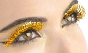 Self-Adhesive Yellow Tinsel False Eyelashes