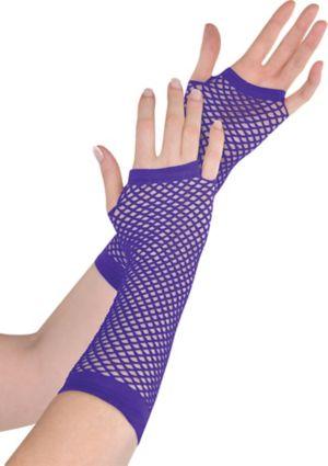 Long Purple Fishnet Gloves Deluxe