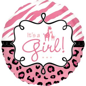 Baby Shower Balloon - Pink Safari It's a Girl