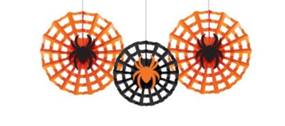 Spiders Paper Fan Decorations 3ct