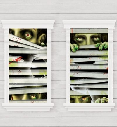 Peeping Zombie Window Decorations 2ct
