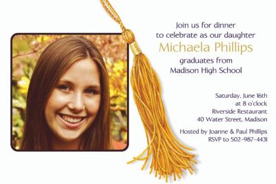 Custom Grad Tassle with Image Photo Invitations