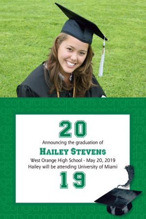 Custom Green Congrats Grad Photo Announcements