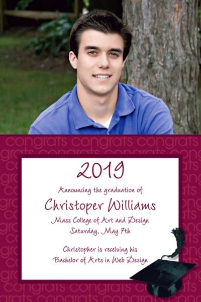 Custom Berry Congrats Grad Photo Announcements
