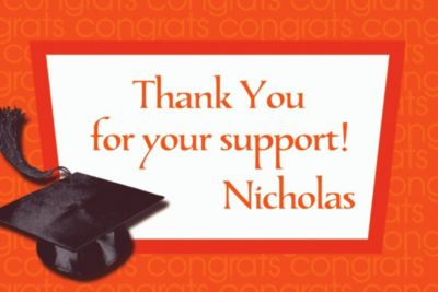 Orange Congrats Grad Custom Thank You Notes