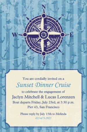 Custom Compass on Seersucker Border Invitations