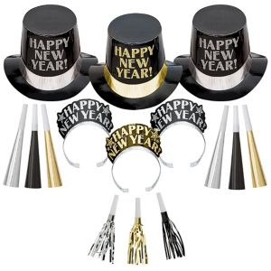 Kit For 10 - Midnight Elegance - Black, Gold & Silver New Year's Party Kit