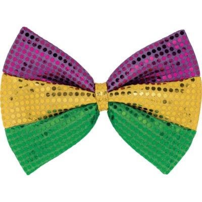 Sequined Purple, Gold, and Green Bow Tie