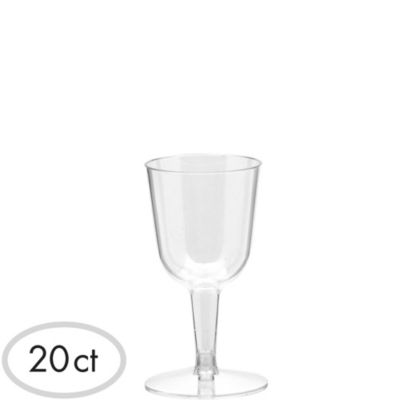 Mini CLEAR Plastic Wine Glasses 20ct