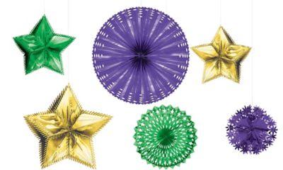 Foil Mardi Gras Starburst Decorating Kit 6pc