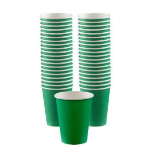 BOGO Festive Green Paper Coffee Cups 12oz 40ct
