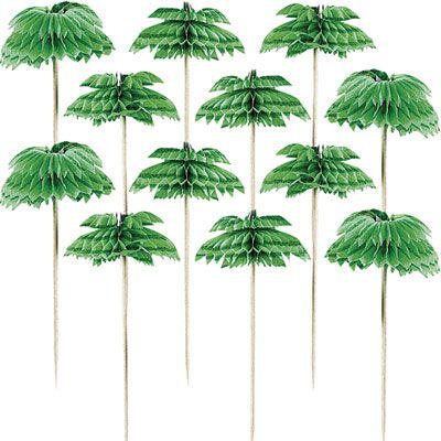 Palm Tree Honeycomb Party Picks 12ct