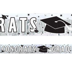 White Foil Fringe Graduation Banner