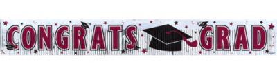 Burgundy Foil Fringe Graduation Banner