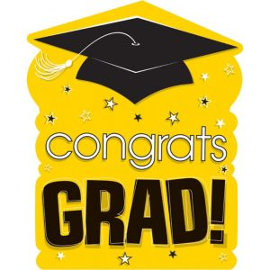 Yellow Congrats Grad Cutout