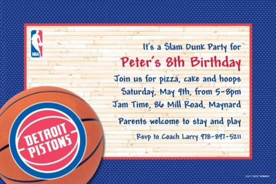 Custom Detroit Pistons Invitations